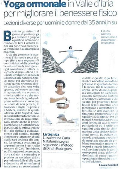Corriere della Sera - Yoga Ormonale in Valle d'Itria