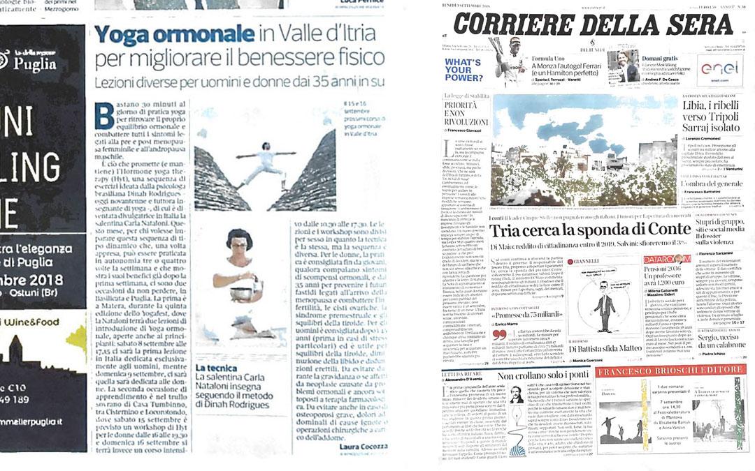 Yoga ormonale in Valle d'Itria per migliorare il benessere fisico – Corriere della sera 09/2018