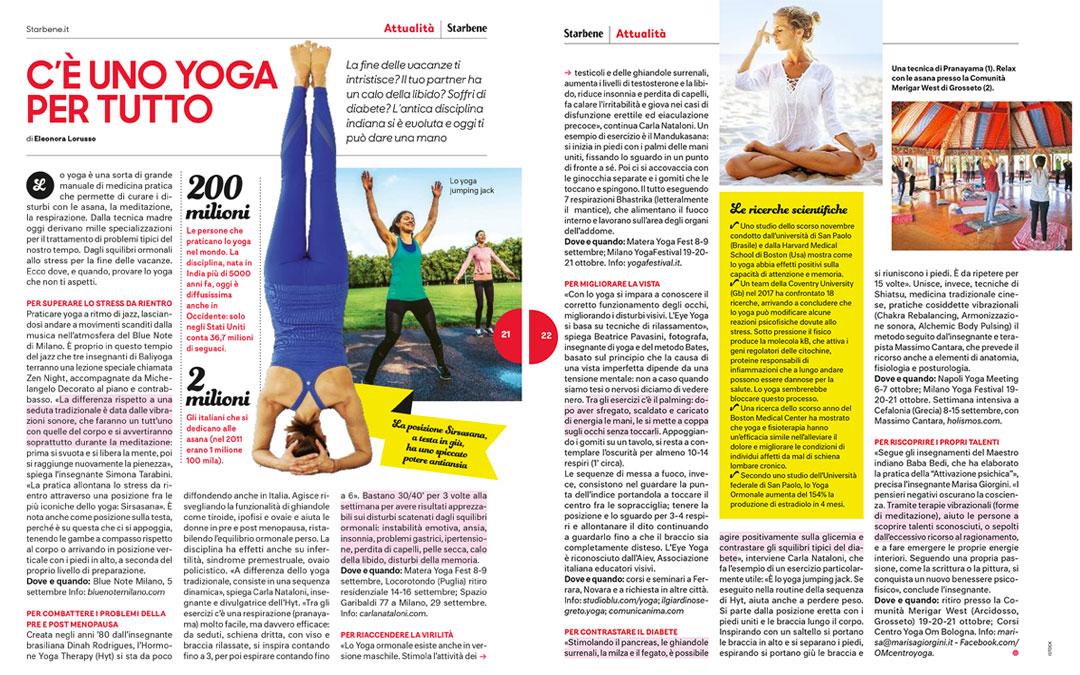 C'è uno yoga per tutto -Star Bene 14 Agosto 2018